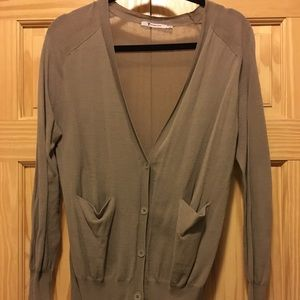 T Alexander Wang Sheer Back Button Down Cardigan